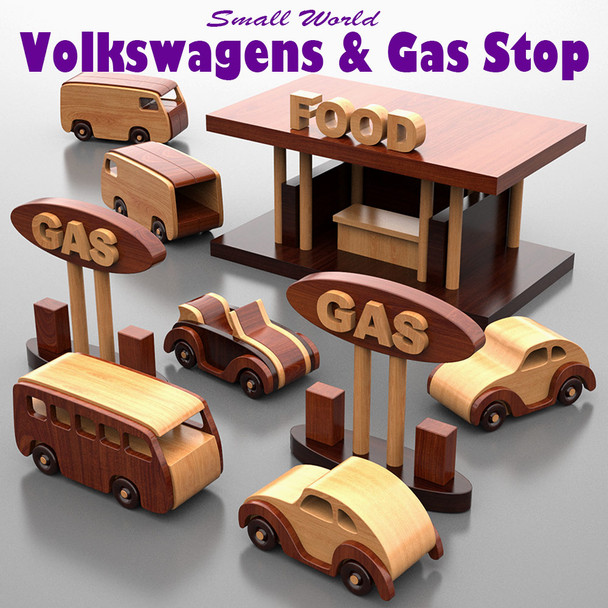 Small World Volkswagens + Food & Gas Stop (PDF Download) Wood Toy Plans