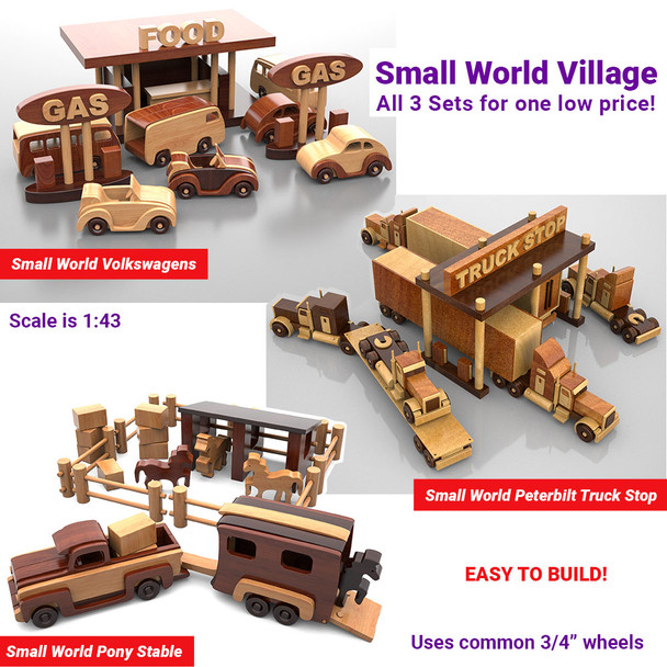 Small World Volkswagens + Pony Stable + Peterbilt Truck Stop (3 PDF Downloads) Wood Toy Plans