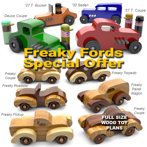 Fat Fendered Freaky Fords + Hot Rod Freaky Fords (2 PDF Downloads) Wood Toy Plans