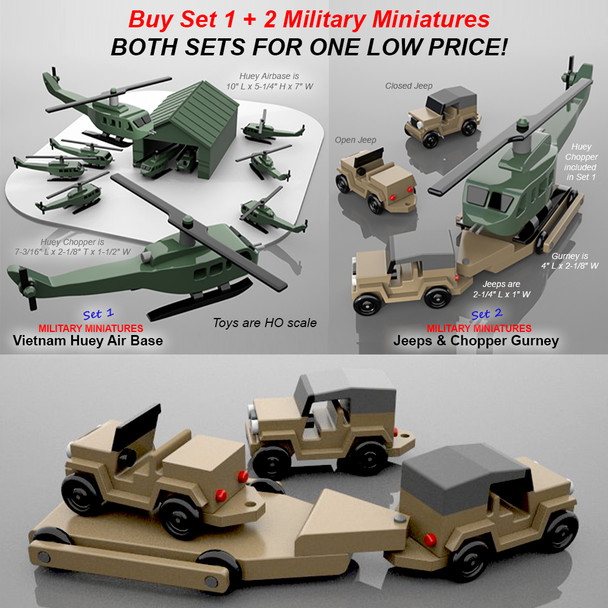 Military Miniatures Vietnam Huey Air Base + Jeep & Chopper Gurney Wood Toy Plans (2 PDF Downloads)