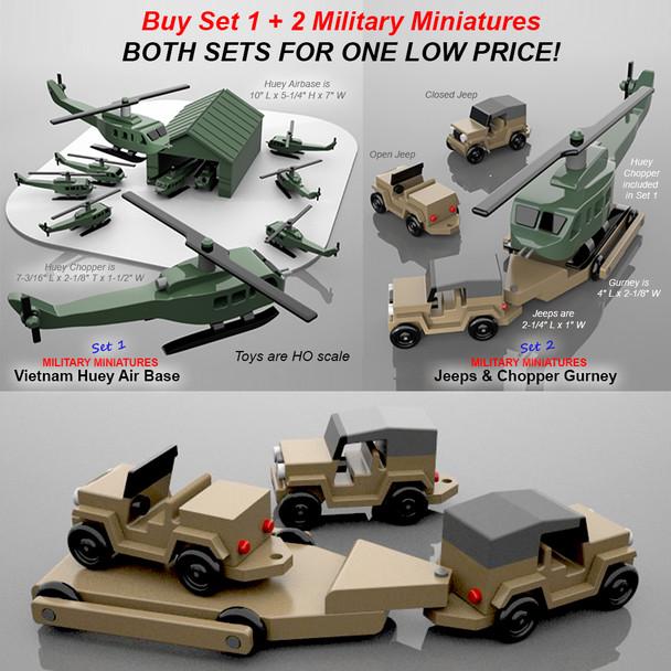 Military Miniatures Vietnam Huey Air Base + Jeep & Chopper Gurney Wood Toy Plans (2 PDF Downloads)