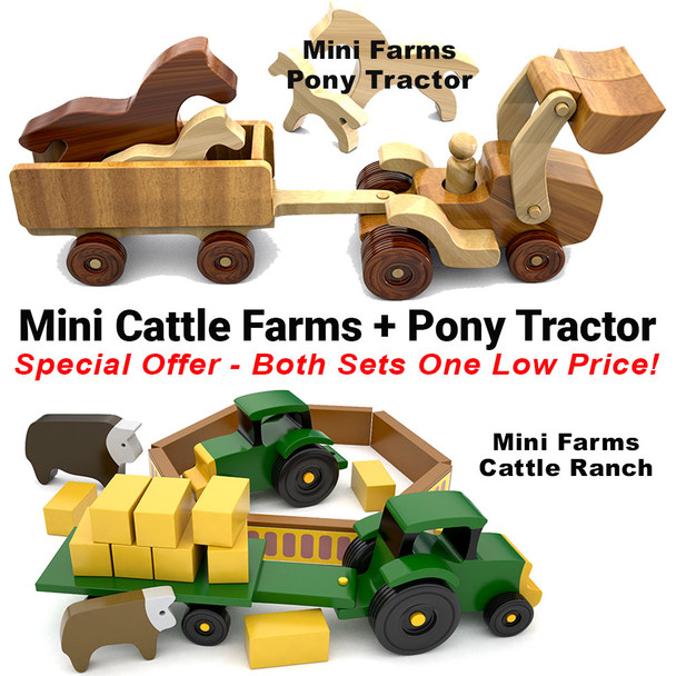 Mini Farms Cattle Ranch + Pony Tractor (2 PDF Downloads) Wood Toy Plans