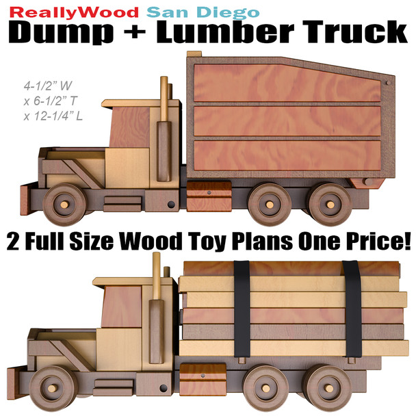ReallyWood San Diego Lumber & Dump Truck (2 PDF Downloads) Wood Toy Plans
