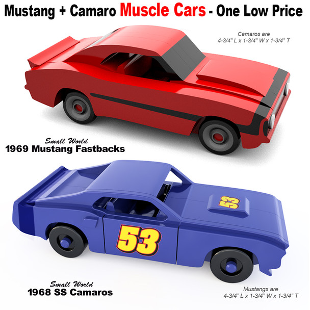 Small World 1969 Boss Mustangs + 1968 SS Camaros Wood Toy Plans (2 PDF Downloads)