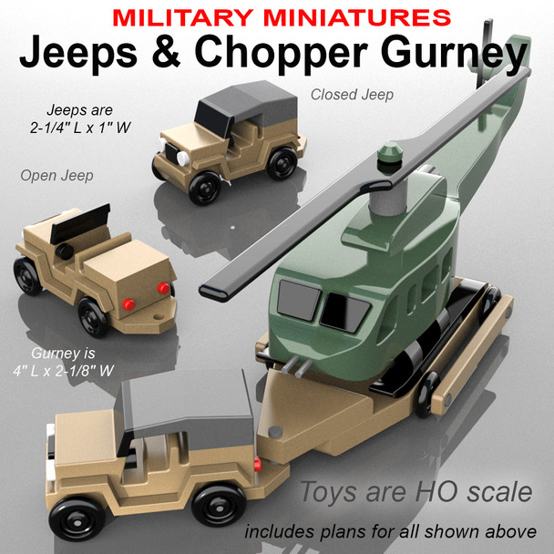 Military Miniatures Vietnam Jeeps + Chopper Gurney (PDF Download) Wood Toy Plans
