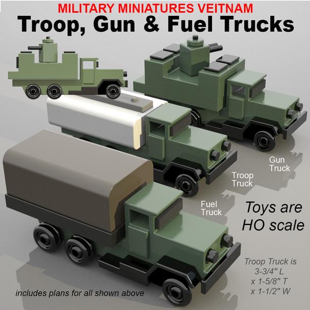 Military Miniatures Vietnam Troop, Fuel & Gun Trucks (PDF Download) Wood Toy Plans