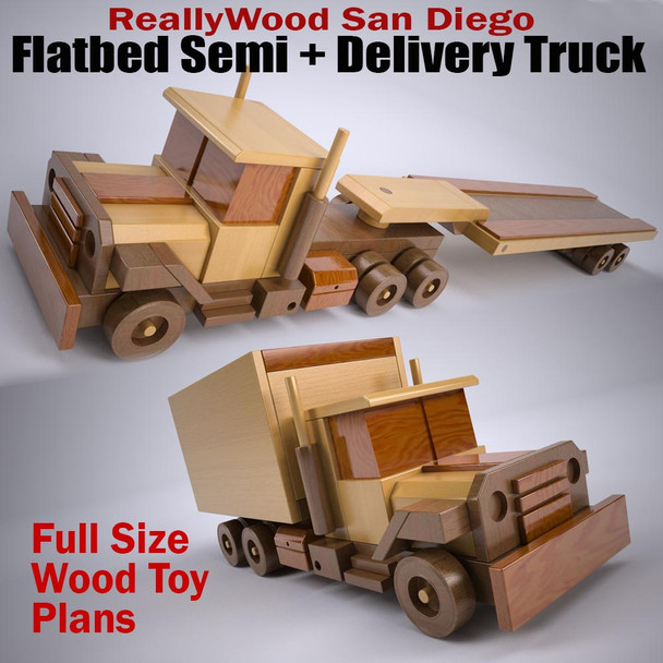 ReallyWood San Diego Delivery Truck & Flatbed Semi-Truck (2 PDF Downloads) Wood Toy Plans