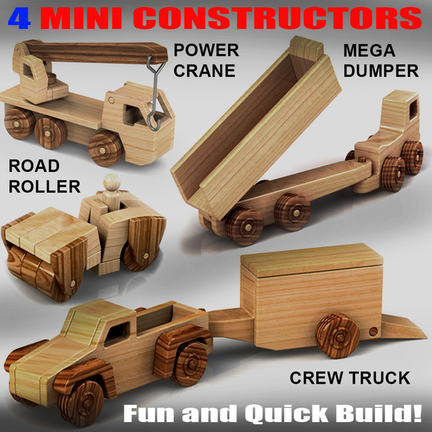 Mini Constructors Crew Truck + Mega Dumper + Power Crane + Road Roller Wood Toy Plans (4 PDF Downloads) Wood Toy Plans