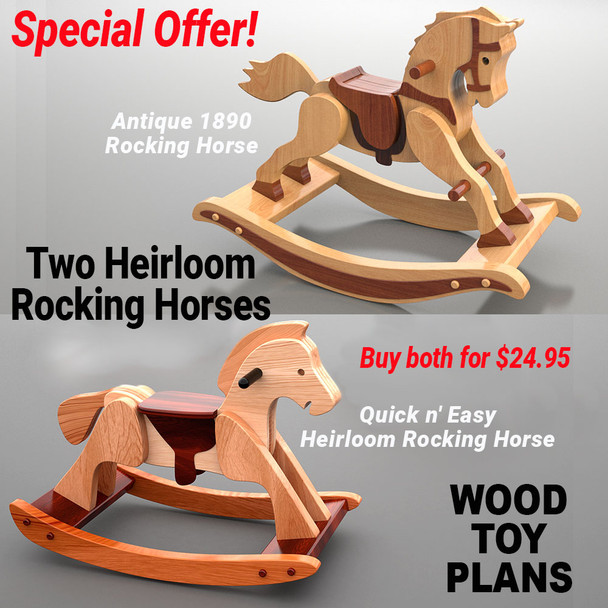 Antique 1890 Rocking Horse + Quick n' Easy Heirloom Rocking Horse (2 PDF Downloads) Wood Toy Plans