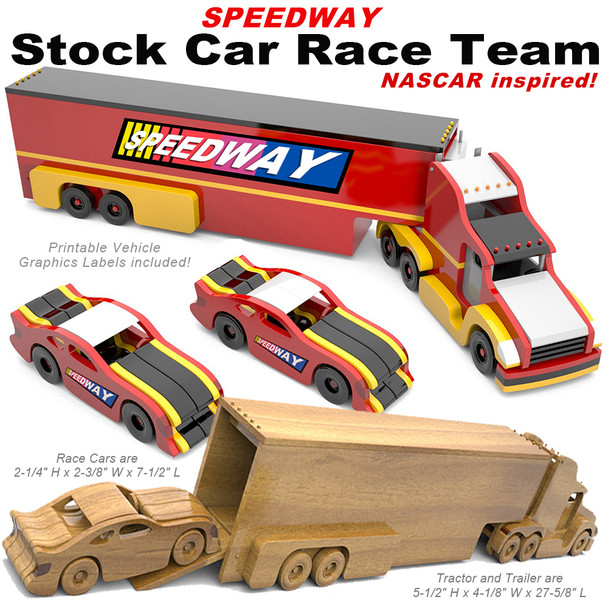 Speedway Stock Car Race Team (PDF Download) Wood Toy Plans