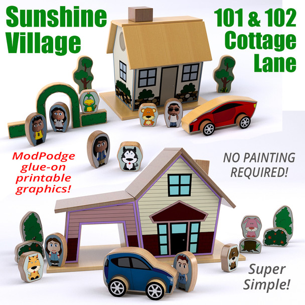 Sunshine Village 101 & 102 Cottage Lane (2 PDF Downloads) Wood Toy Plans