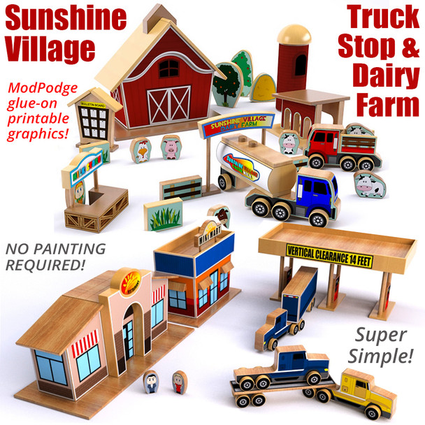 Sunshine Village Truck Stop & Dairy Farm (2 PDF Downloads) Wood Toy Plans