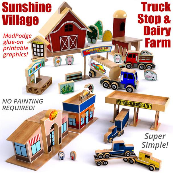 Sunshine Village Truck Stop & Dairy Farm (2 PDF Downloads) Wood Toy Plans