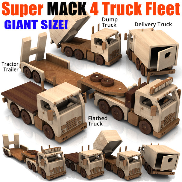 Super MACK 4 Truck Fleet (5 PDF Downloads) Wood Toy Plans
