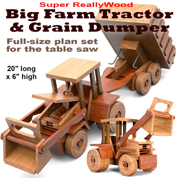Super ReallyWood Big Farm Tractor & Grain Dumper (PDF Download) Wood Toy Plans