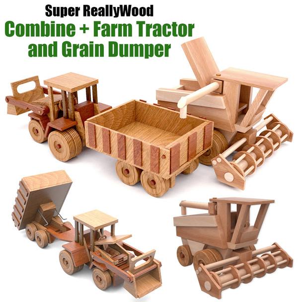 Super ReallyWood Combine + Big Farm Tractor & Grain Dumper (2 PDF Downloads) Wood Toy Plans
