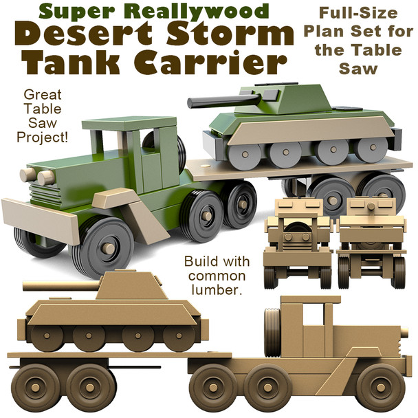 Super ReallyWood Desert Storm Tank Carrier Wood (PDF Download) Toy Plans