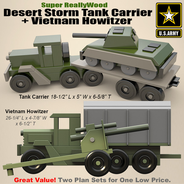 Super ReallyWood Vietnam Howitzer + Desert Storm Tank Carrier (2 PDF Downloads) Wood Toy Plans
