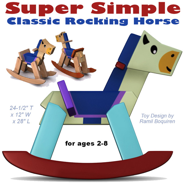Super Simple Classic Rocking Horse (PDF Download) Wood Toy Plans