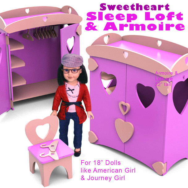 "Sweetheart Sleep Loft & Armoire for 18"" Dolls (PDF Download) Wood Toy Plans"
