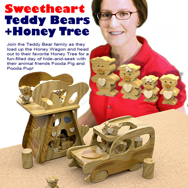 Sweetheart Teddy Bears & Honey Tree (PDF Download) Wood Toy Plans