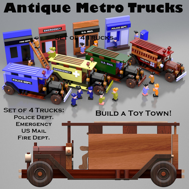 Table Saw Magic Antique Metro Trucks (PDF Download) Wood Toy Plans