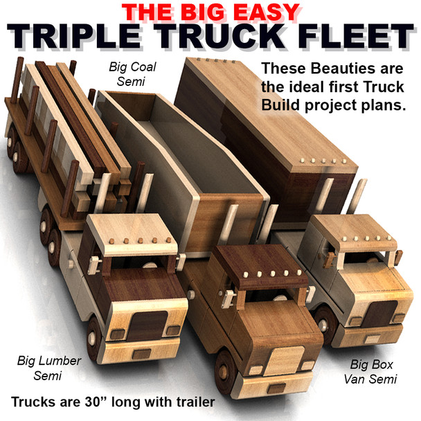 The Big Easy Triple Truck Fleet (4 PDF Downloads) Wood Toy Plans