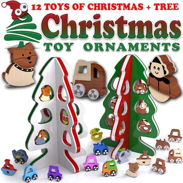 The Twelve Toys of Christmas Tree (PDF Download) Wood Toy Plans