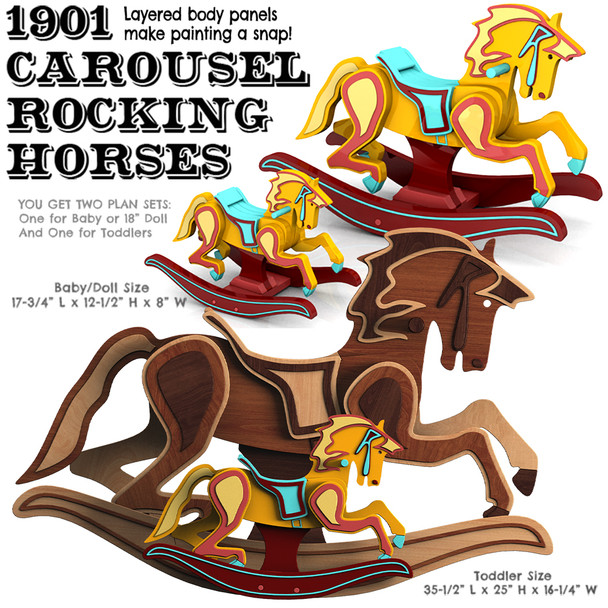 Toddler + Baby 1901 Carousel Rocking Horse (2 PDF Downloads) Wood Toy Plans