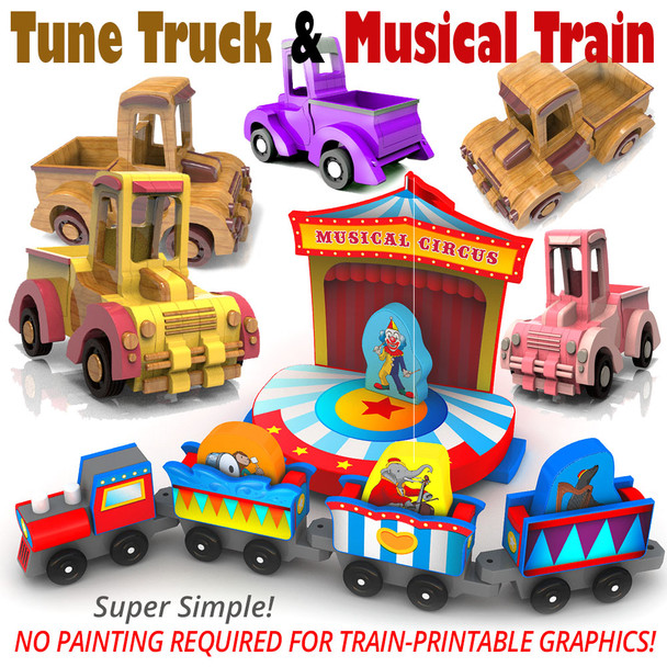 Hilarious Toon Truck + Musical Circus Train (2 PDF Downloads) Wood Toy Plans