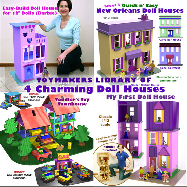 Toymakers Library of 4 Charming Doll Houses (4 PDF Downloads) Wood Toy Plans