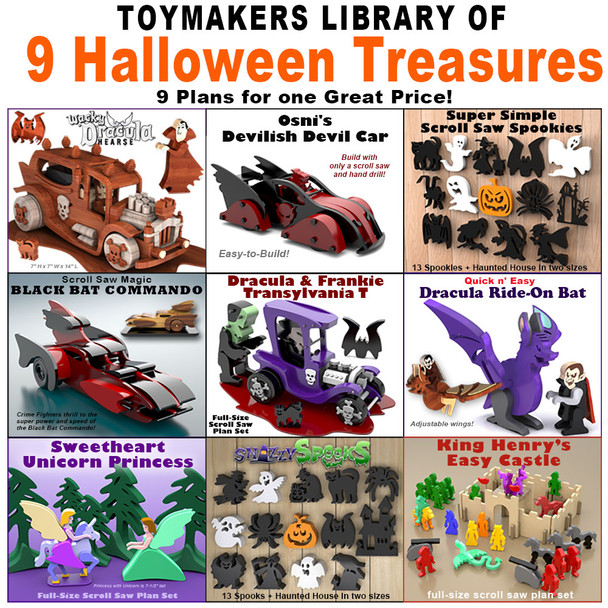 Toymakers Library of 9 Halloween Treasures (9 PDF Downloads) Wood Toy Plans