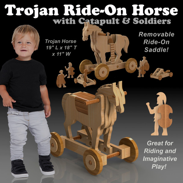 Trojan Ride-On Horse + Catapult & Soldiers (PDF Download) Wood Toy Plans