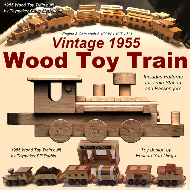 Vintage 1955 Wood Toy Train (PDF Download) Wood Toy Plans