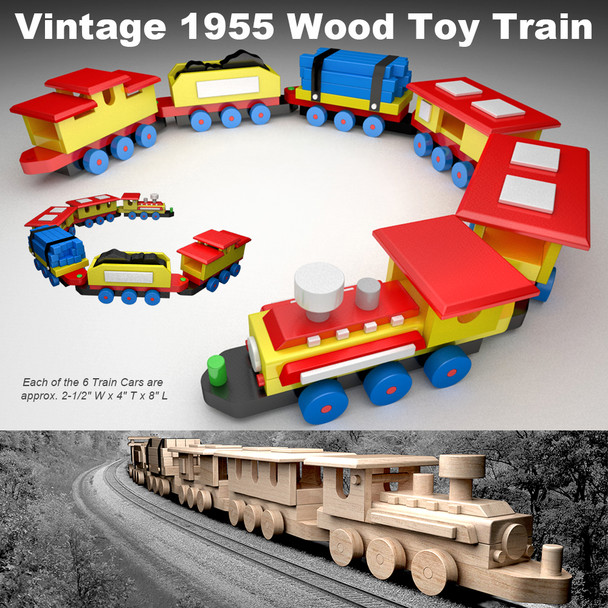 Vintage 1955 Wood Toy Train (PDF Download) Wood Toy Plans