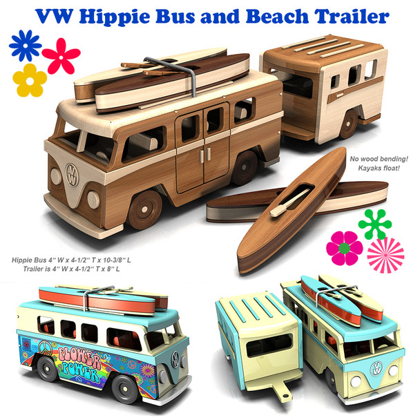 VW Hippie Bus and Beach Trailer + Kayaks Wood Toy Plans (PDF Download)