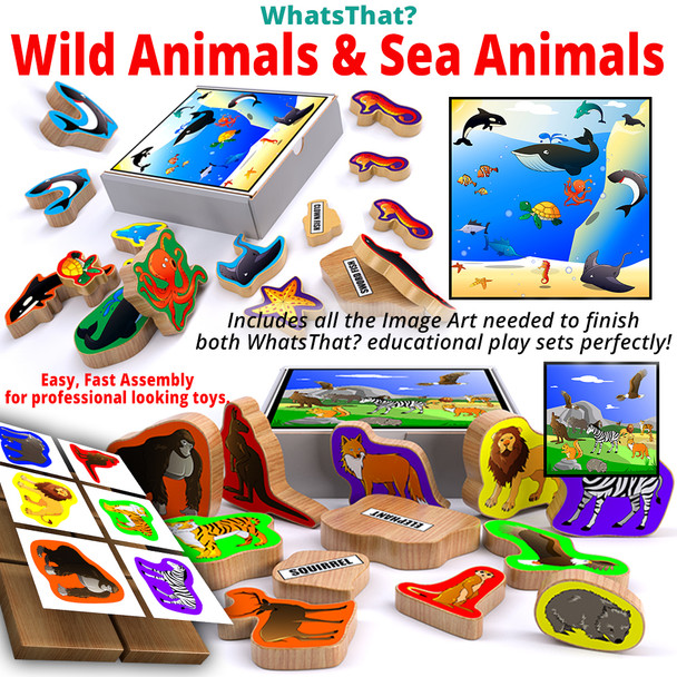 WhatsThat? Wild Animals + Sea Animals (2 PDF Downloads) Wood Toy Plans