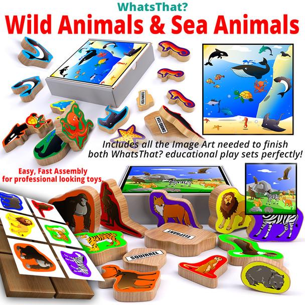 WhatsThat? Wild Animals + Sea Animals (2 PDF Downloads) Wood Toy Plans