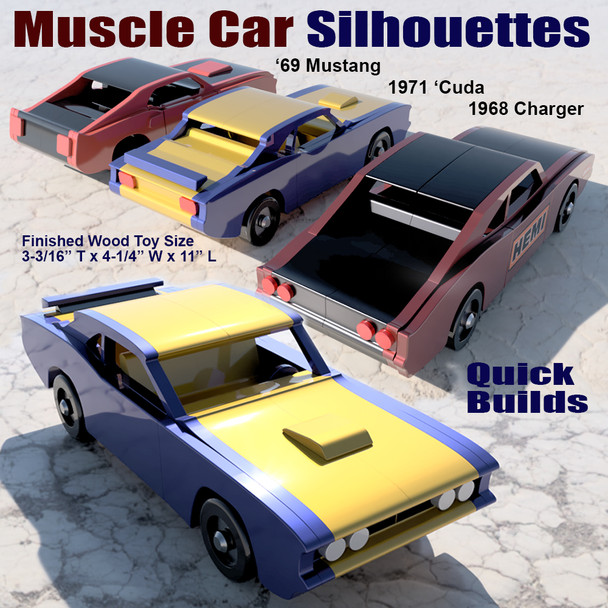 Muscle Car Silhouettes '69 Mustang + '68 Charger + '71 Cuda (3 PDF Downloads) Wood Toy Plans