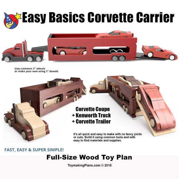 Easy Basics Corvette Carrier (3 PDF Downloads) Wood Toy Plans
