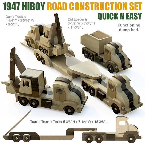 Quick N Easy 1947 HiBoy Road Construction Set Wood Toy Plans