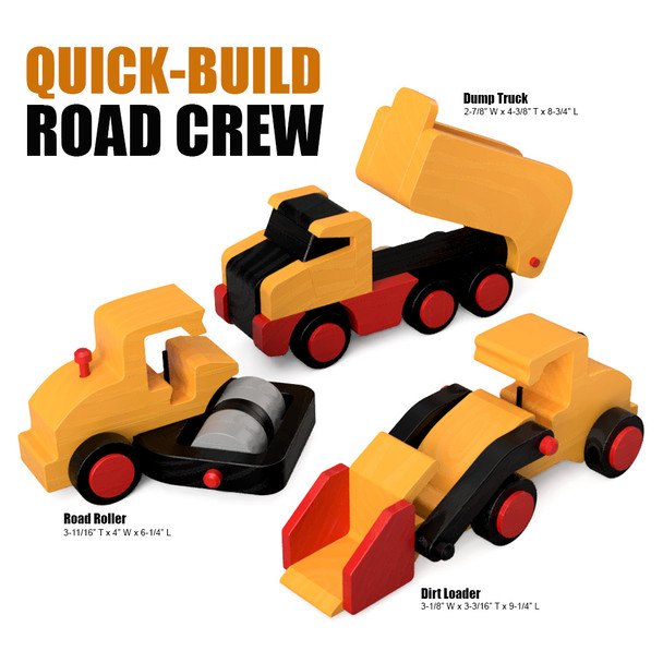 Quick-Build Road Crew (3 PDF Downloads) Wood Toy Plans