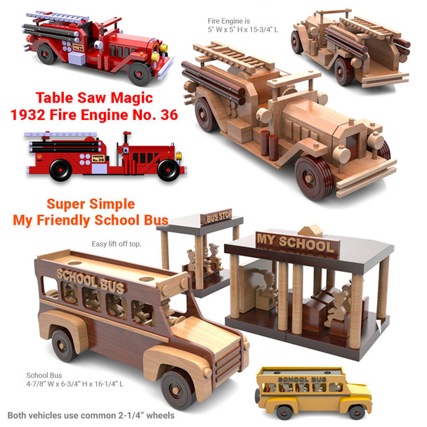 Antique 1932 Fire Engine + Super Simple School Bus (2 PDF Downloads) Wood Toy Plans