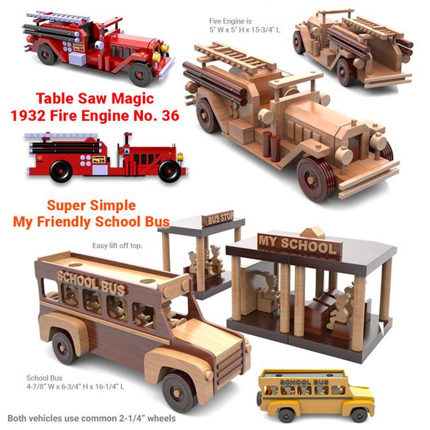 Antique 1932 Fire Engine + Super Simple School Bus (2 PDF Downloads) Wood Toy Plans