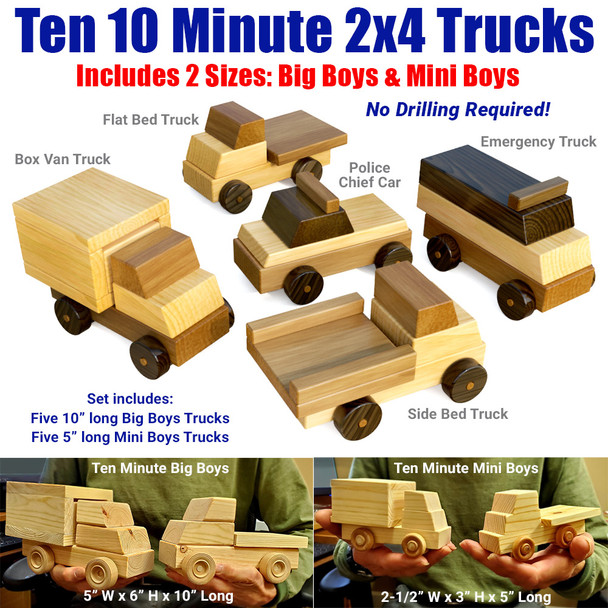 Ten 10 Minute 2x4 Trucks Wood Toy Plans (PDF Download)