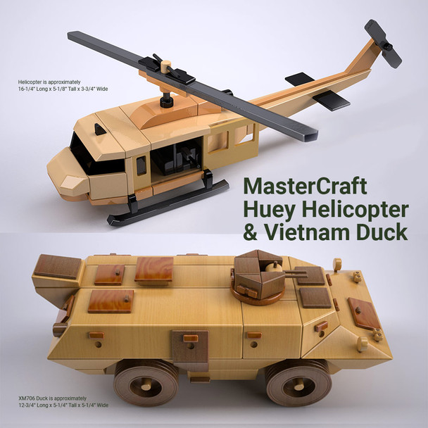 MasterCraft Huey Helicopter + Vietnam Duck  (2 PDF Downloads) Wood Toy Plans
