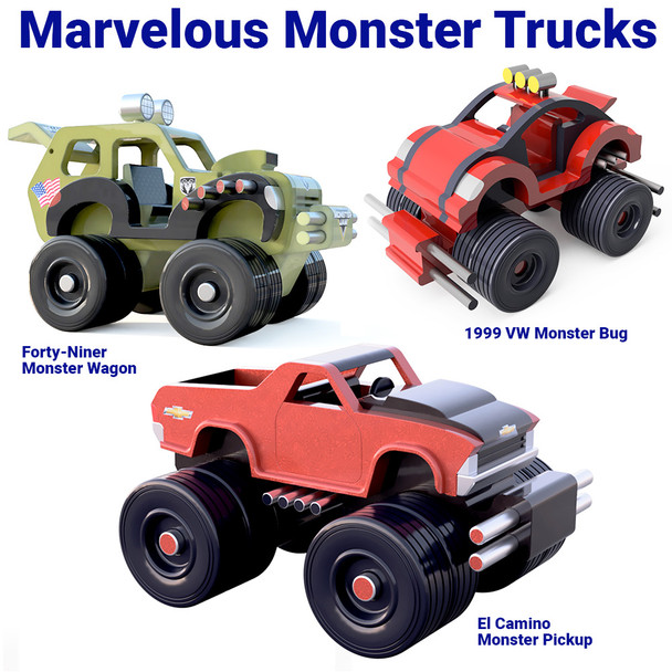 Marvelous Monster Trucks  (3 PDF Downloads) Wood Toy Plans