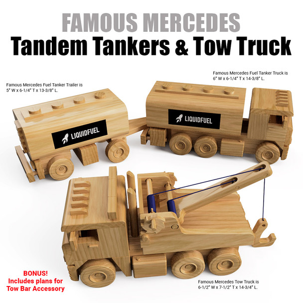 Famous Mercedes Tandem Fuel Tankers & Tow Truck  (3 PDF Downloads) Wood Toy Plans