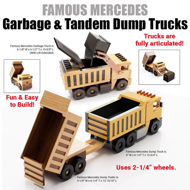 Famous Mercedes Garbage & Tandem Dump Trucks  (3 PDF Downloads) Wood Toy Plans