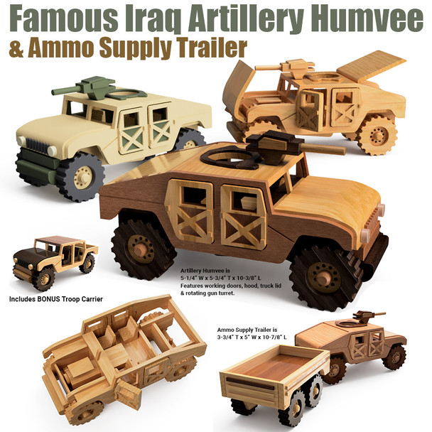 Famous Iraq Artillery Humvee & Ammo Trailer (2 PDF Downloads) Wood Toy Plans